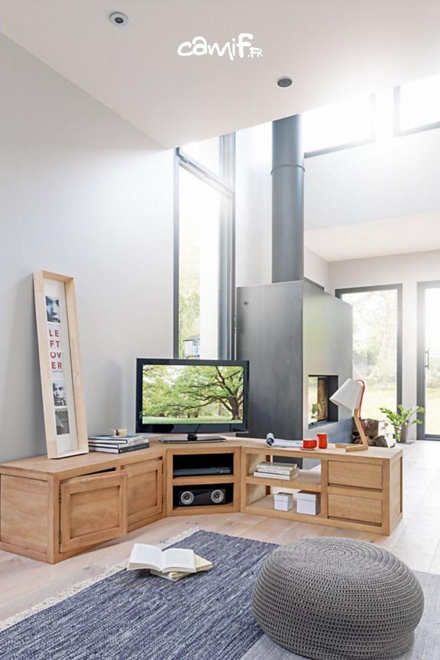 Meuble Tv D Angle En Bois Camif Fr Meuble Tv Angle Meuble Tv En Coin Meuble Tv