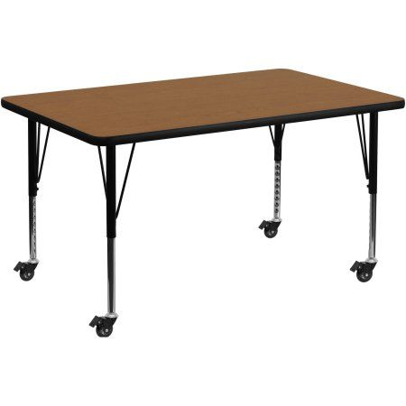 Used Flash Furniture Mobile 36''W x 72''L Rectangular Activity Table with Oak Thermal Fused Laminate Top and Height Adjustable Preschool Legs