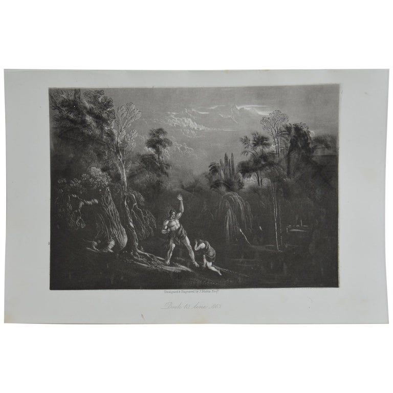 Sensational image by John Martin. Titled Adam Reproving Eve Drawn and engraved by John Martin. From the highly regarded Washbourne Publication of Milton's Paradise Lost, 1853. Unframed.