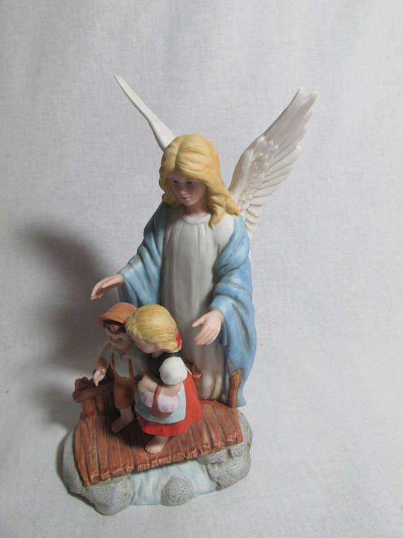 Homco Guardian Angel With Children On The Bridge Figurine 8772 1995