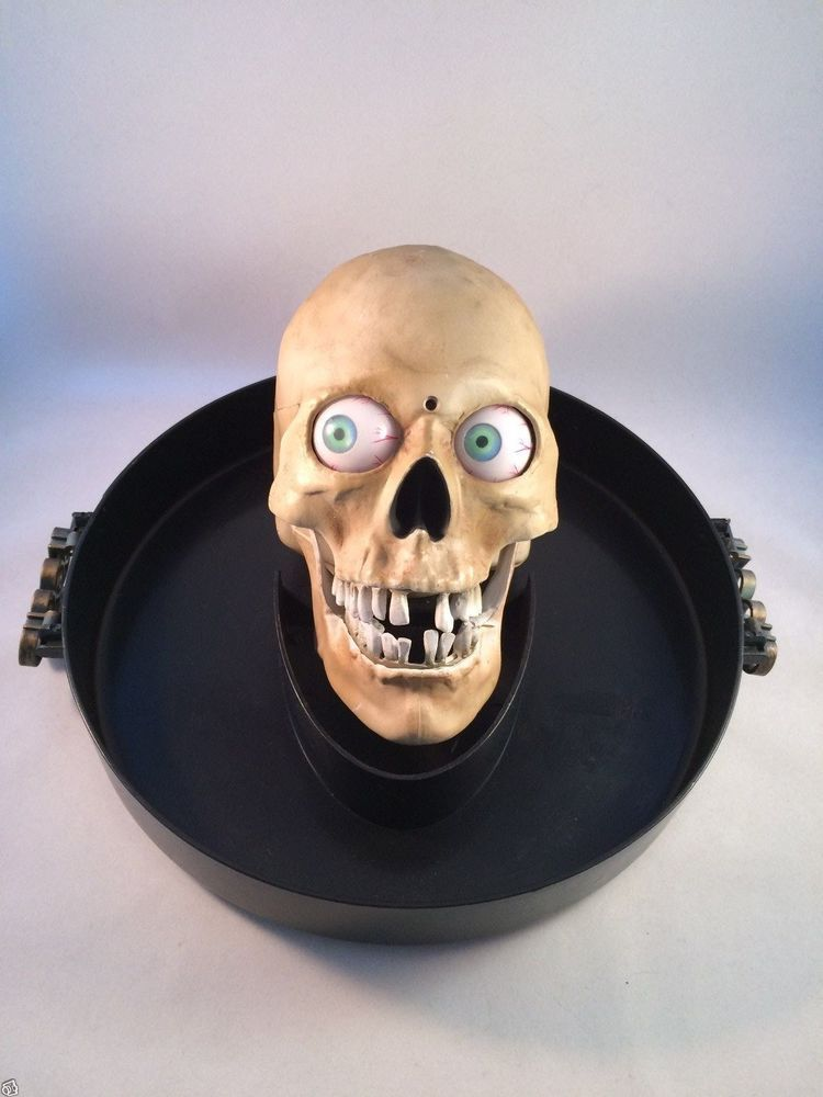 animated skull talking head on platter halloween candy dish gemmy prop motion - Talking Skull Halloween