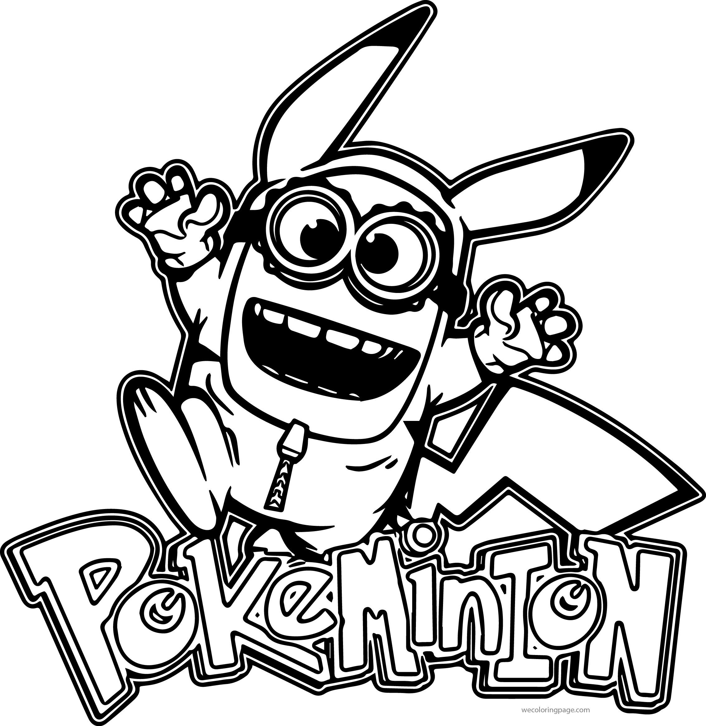 Minion Pikachu Pokemon Coloring Page 02