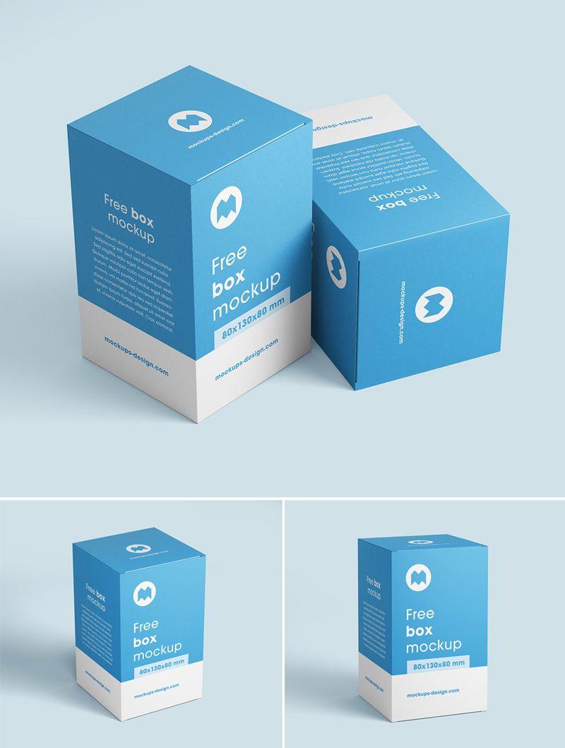 Download Free Box Mockup 80x130x80 Mm Free Boxes Box Mockup Mockup