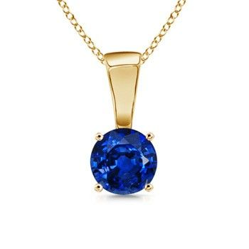 Angara Round Blue Sapphire Solitaire Pendant in 14k Yellow Gold v6OGRE7ND