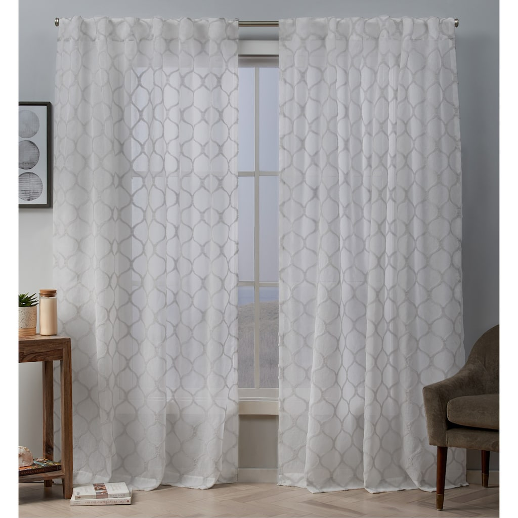 Exclusive Home 2 Pack Bradford Sheer Woven Ogee Embellished Window Curtains Home Curtains Panel Curtains Curtains