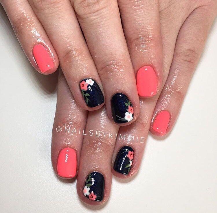 Navy And Coral Spring Coral Nails Toe Nails Pedicure Designs Toenails