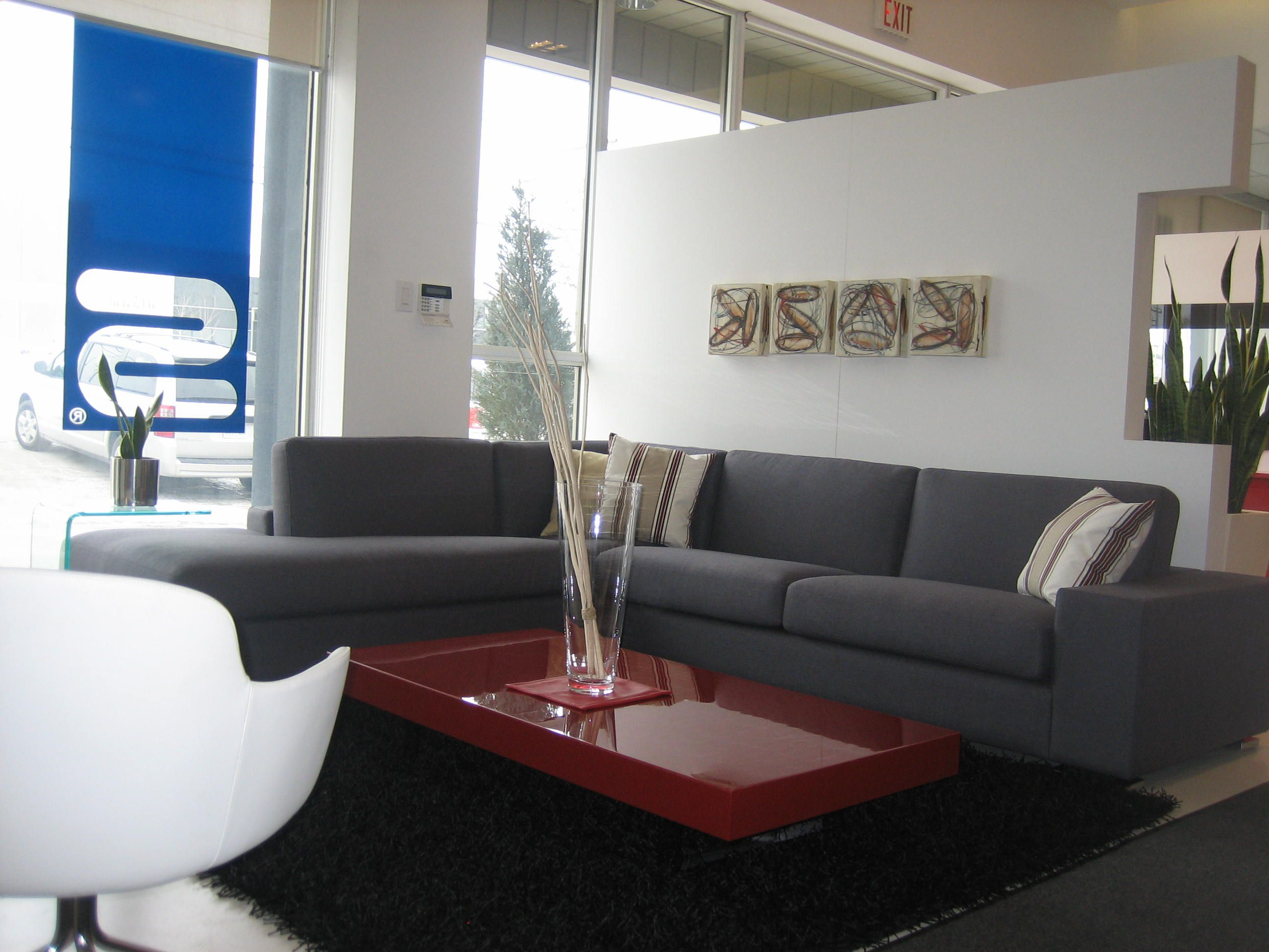 Mephisto sectional in grey available in your choice of leather or fabric made in canada by selene furniture