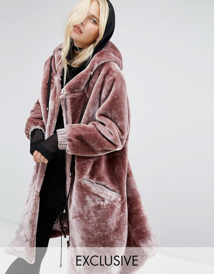 9da7130f8 Story Of Lola Oversized Parka Jacket In Faux Fur