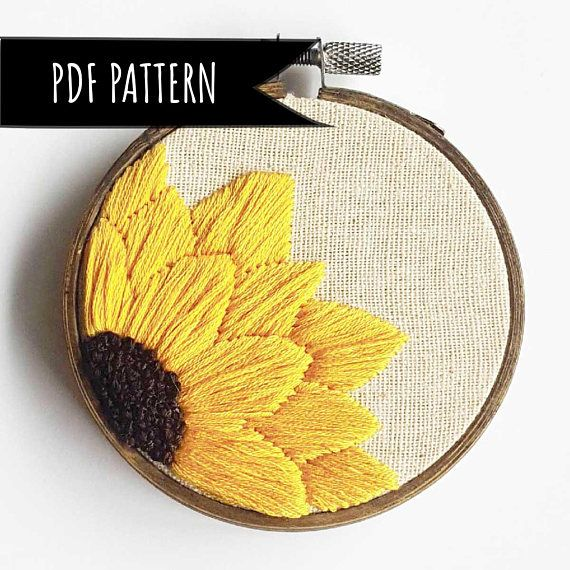 Sunflower Hand Embroidery PDF Pattern. PDF embroidery pattern. Floral Embroidery pattern. Embroidery pattern. Beginner Pattern.