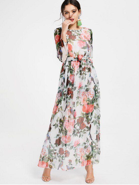7916649d2d4b Floral Print Long Sleeve Belted Maxi Dress | Fashion! | Maxi dress ...