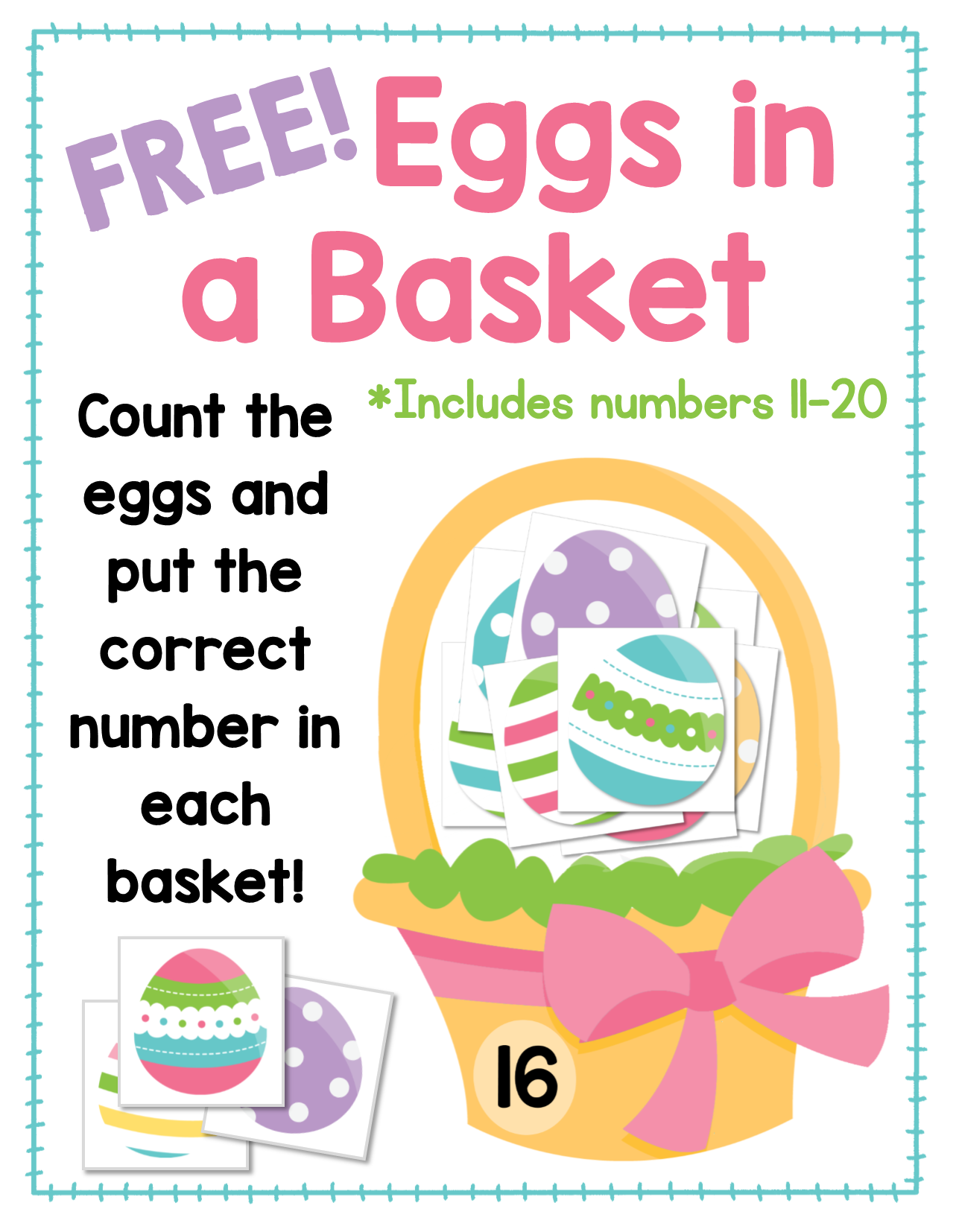 Eggs In A Basket Freebie Counting Numbers 11 20