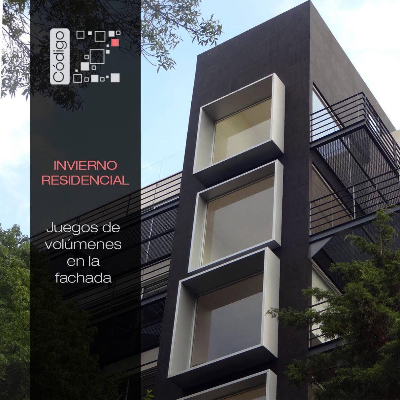 Invierno Residencial. Detalle fachada principal / volúmenes Marcos ...