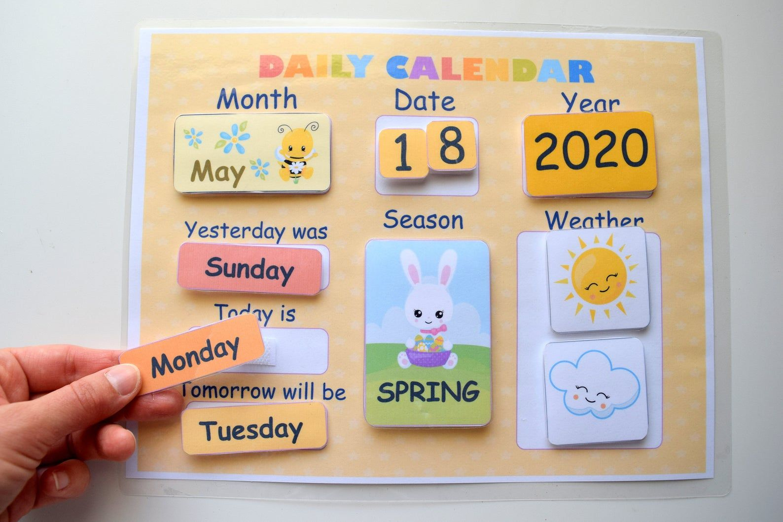 Kids Daily Calendar Morning Board Preschool Printables