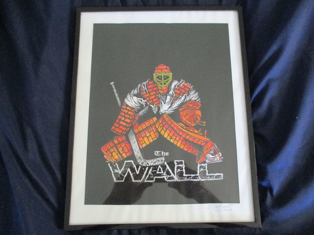 Hand colored print of THE WALL goalie TShirt design