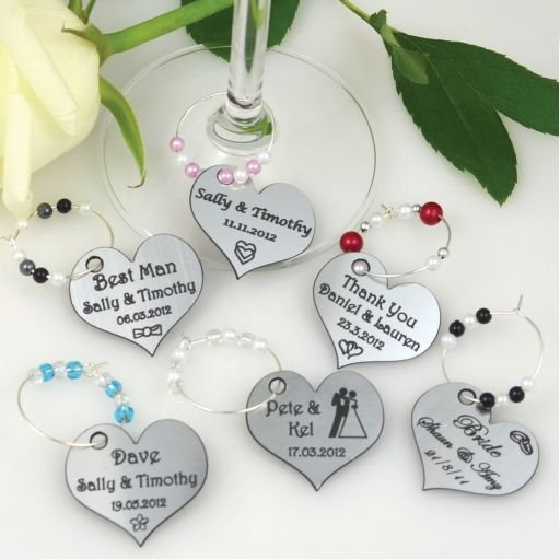 Engraved Wedding Wine Glass Charms, Champagne Glass Charms
