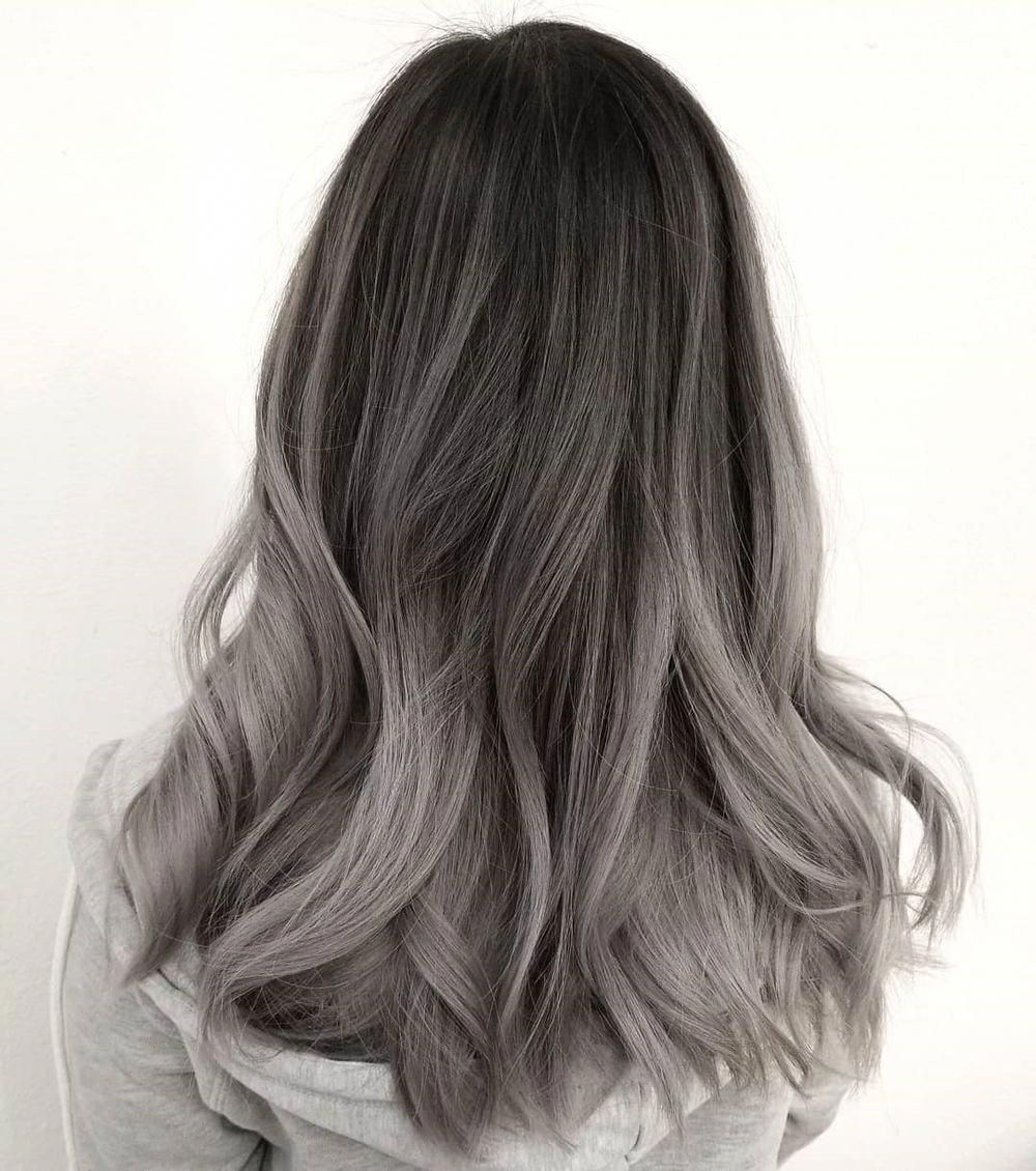 Dark Brown To Ashy Gray Ombre Hairstraight Ash Hair Color Grey Ombre Hair Dark Hair