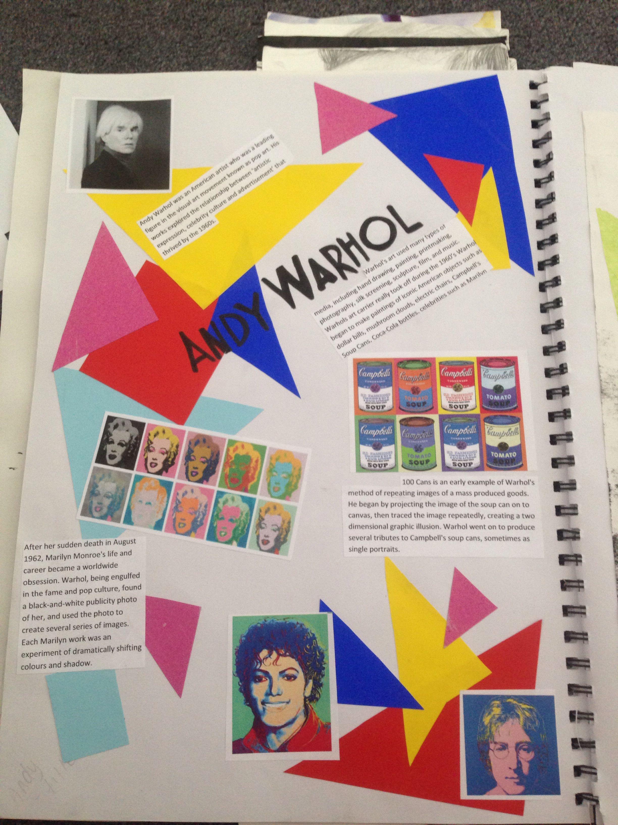 Gcse Andy Warhol Sketchbook Page