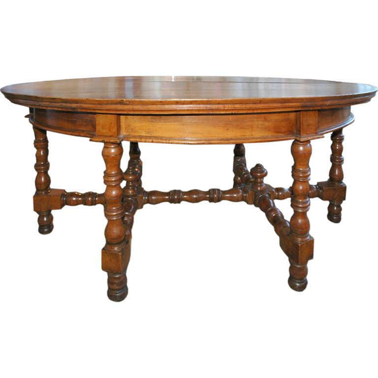 turned oval center table