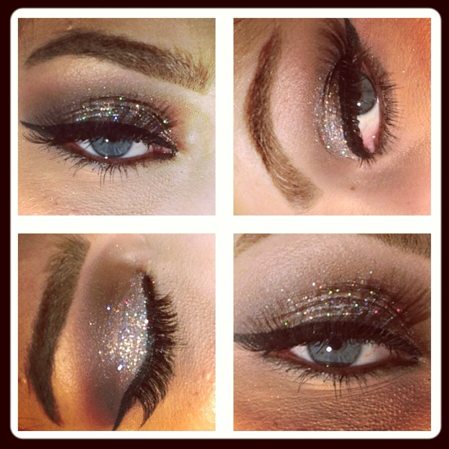 Makeup forever silver glitter and Mac folie in crease with quarry to blend
