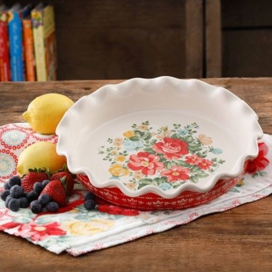 """Pioneer Woman Vintage Floral 9"""" Pie Plate Beautiful Finishing Touch For Your Pie"""