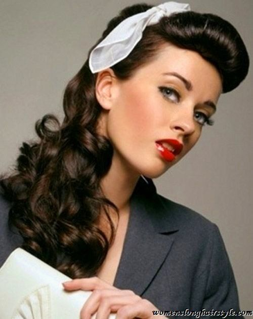 Bildergebnis Fur 50er Frisur Offen Vintage Hairstyles For Long Hair Hair Styles Retro Hairstyles