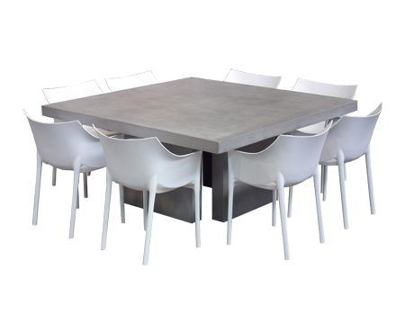 For An Eclectic Look Try Pairing Our Square Modern Concrete Table With 8 Polyethylene Resin Outdoor Chairs These Are Stackable Easy Storage And