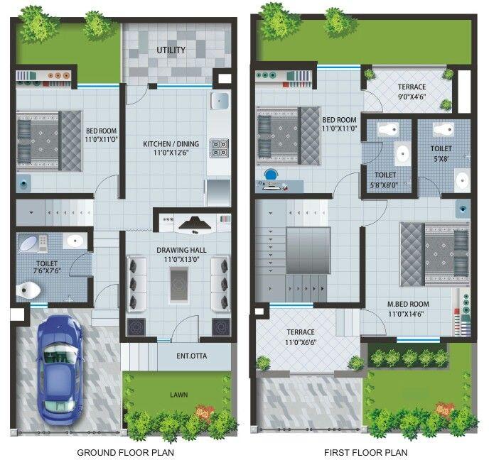 Casa de 1 andar com 3 quartos casa pinterest planos for Viviendas pequenas planos