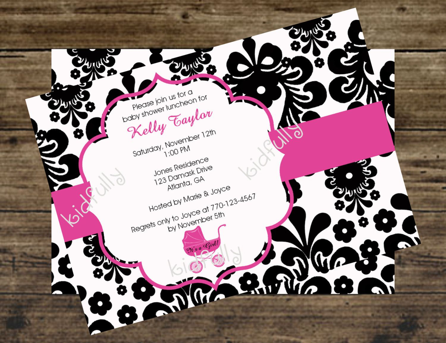 Black and White Damask Baby Shower Invitation with Hot Pink Carriage ...