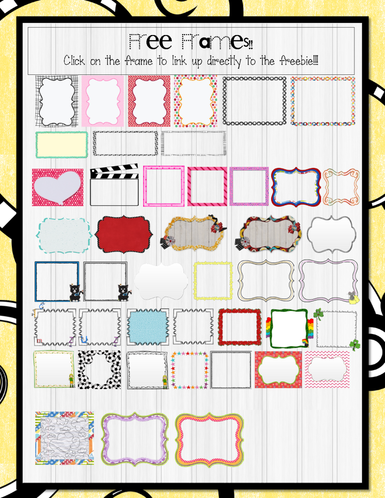 Free printable frames from The 3am Teacher!!!
