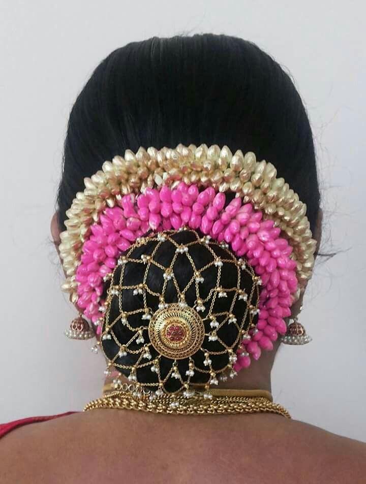 South Indian Bride Gold Indian Bridal Jewelry Temple Jewelry Jhumkis Silk Kanchipuram Sari Bun With Fre Indian Bridal Hairstyles Hair Jewelry Bridal Hairdo
