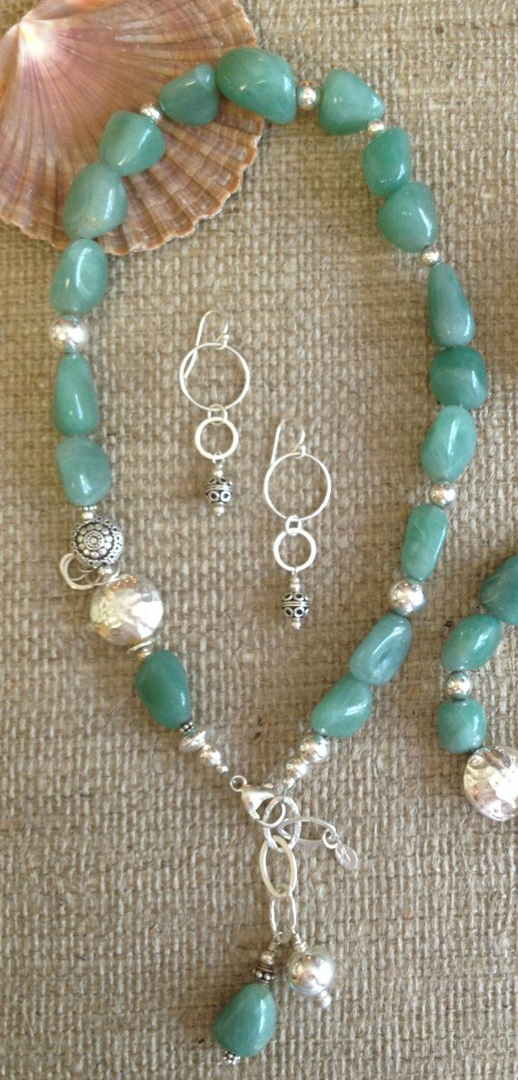 Sterling Silver and Green Chalcedony Nugget by PoshDesignsJewelry, $249.00