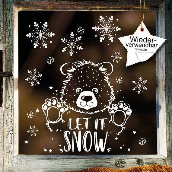 Window picture Christmas Bear window sticker Snowflakes REUSE