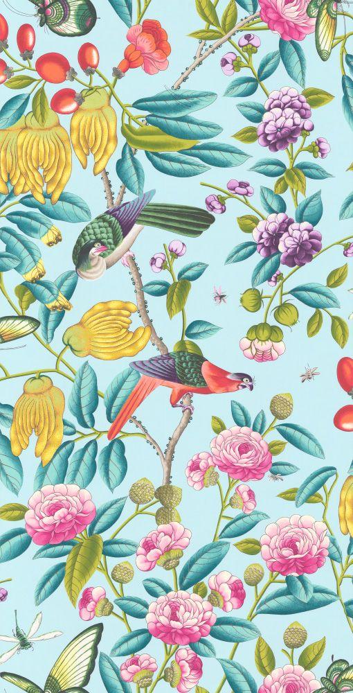 Serendip By Manuel Canovas Turquoise Wallpaper 3075 01 Turquoise Wallpaper Floral Wallpaper Chinoiserie Wallpaper