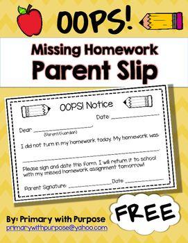 oops slip for homework