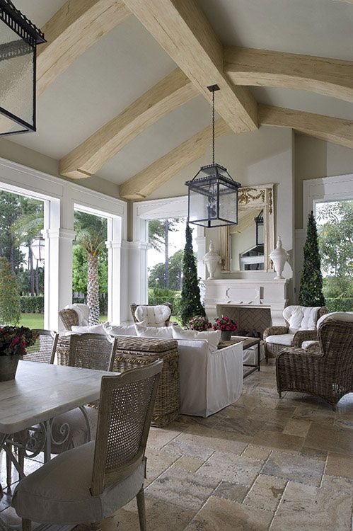 Florida Living Room Design Ideas: Inspiration For A Coastal Living Room...limestone Floors