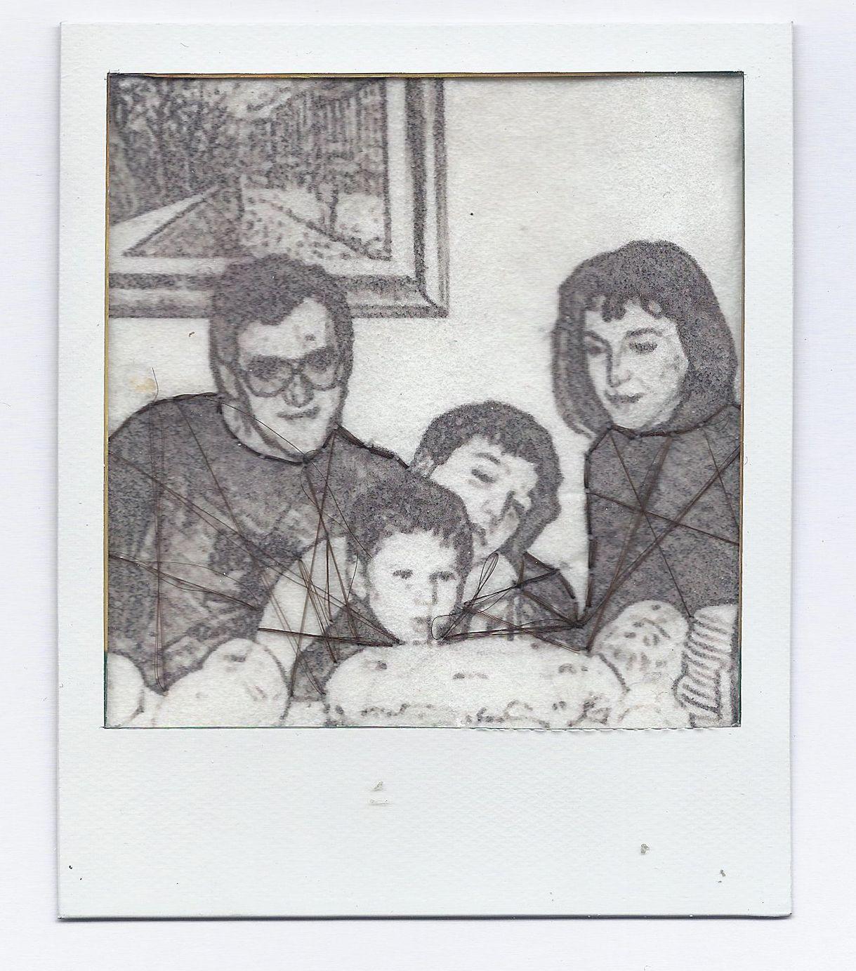 ELENA SAMMARCHI Hair's embroyderies in Polaroid - Foto digitale con effetto sketch, stampata su carta giapponese. Ricamo con capelli veri e pellicola polaroid.  2014