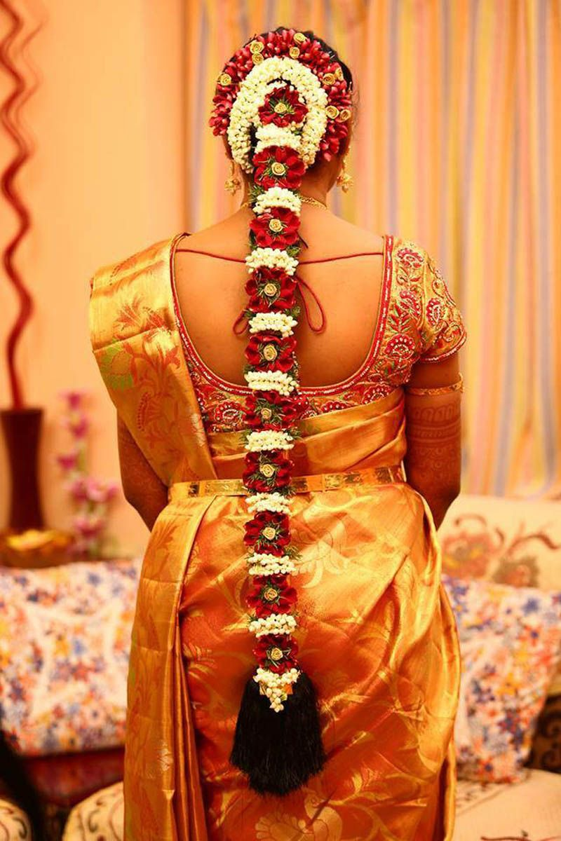 South Indian Bridal Hairstyle With Flowers For Wedding Glamour Indian Bridal Hairstyles South Indian Bride Hairstyle Glamorous Wedding