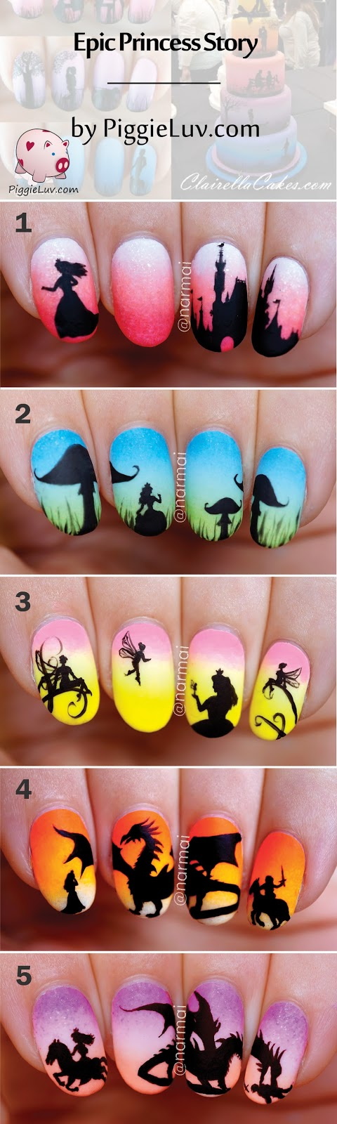 Freehand Epic Princess Story (5 glow in the dark manis ...