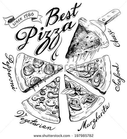 Pizzas Dibujo A Lapiz Narisovannyj Logotip Piccy Korobki Dlya Piccy