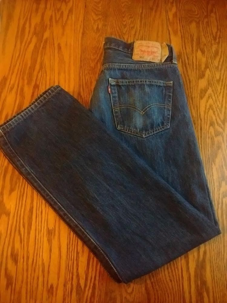 64f8b86b97d Levis 501 Straight Fit Button Fly Blue Jeans Tag size 33 x 32 measure 33 x  30 #Levis #ClassicStraightLeg