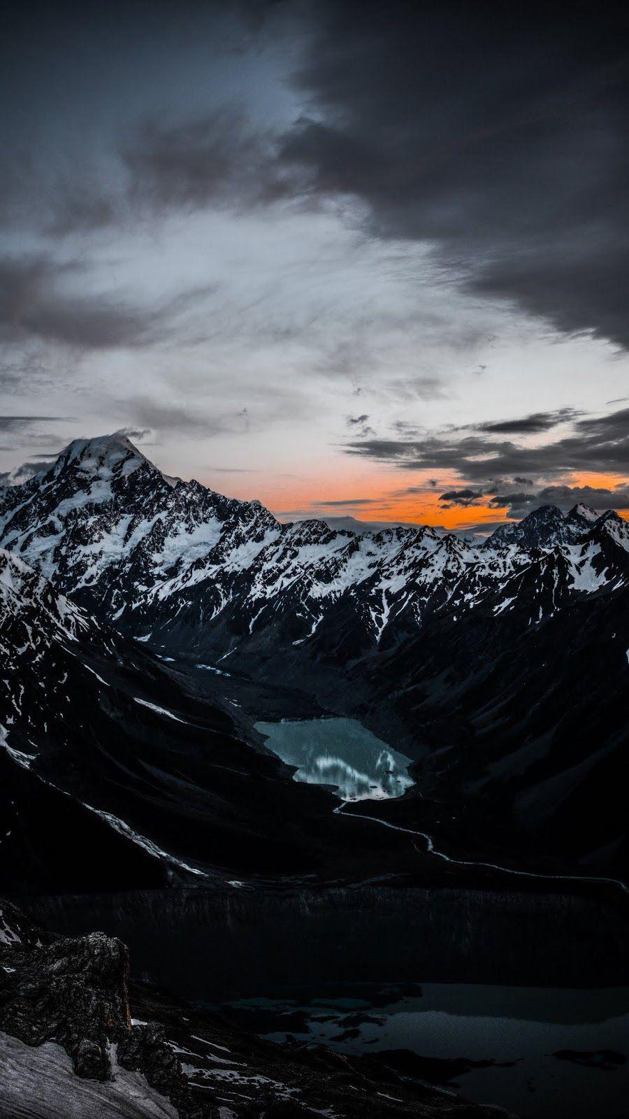 mountains, lake, tops, top view View wallpaper, Phone
