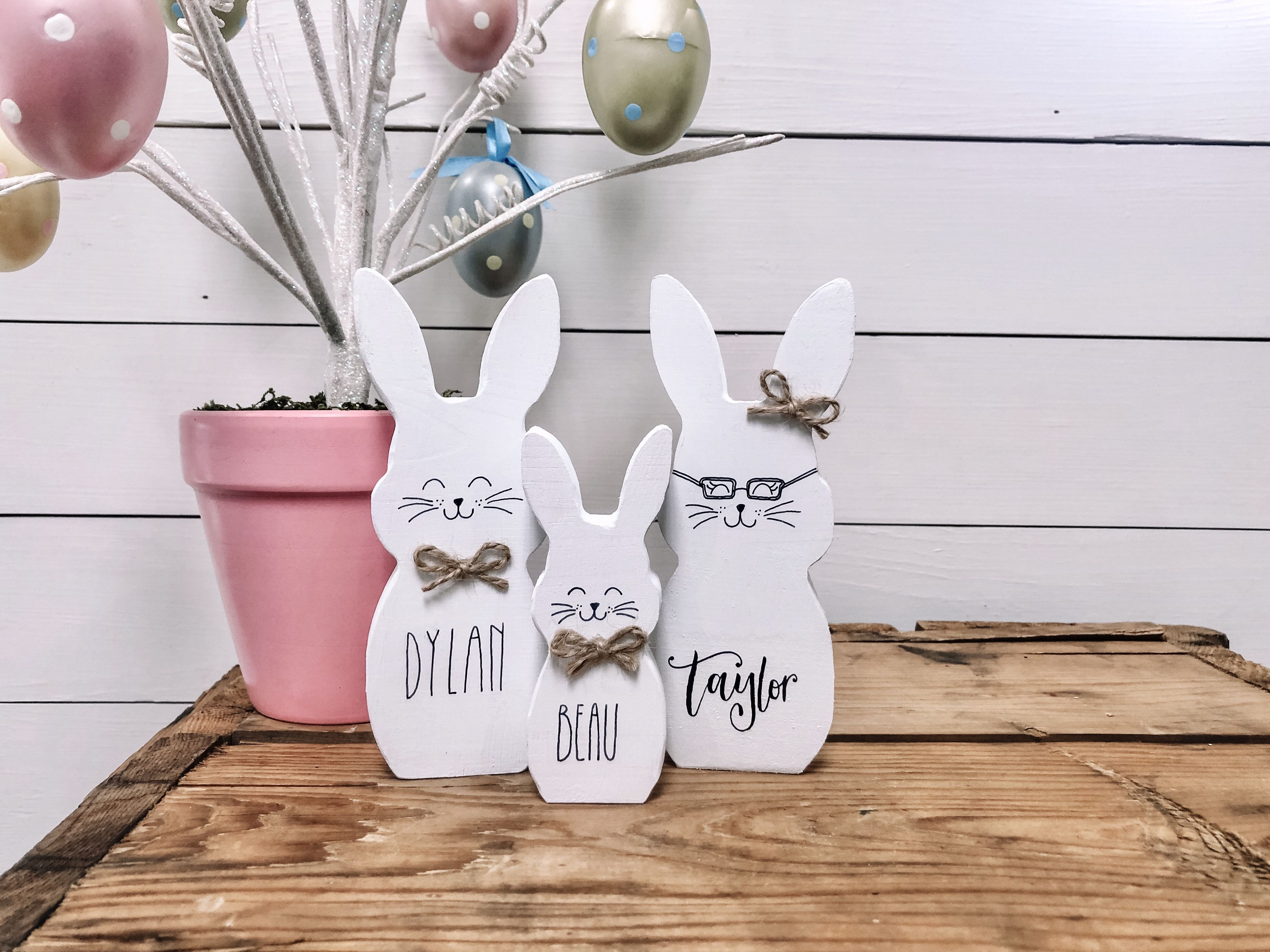 Personalized Bunny Family Wooden Easter Bunnies Custom Easter Bunny Family Custom Easter Gifts Easter Bunny Decor Easter Decor In 2020 Custom Easter Bunny Easter Bunny Decorations Easter Gifts