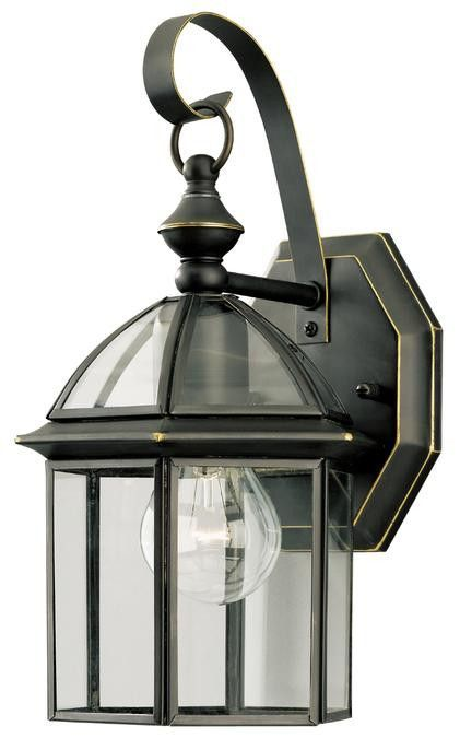One-Light Outdoor Wall Lantern, Weathered Bronze Finish with Clear Glass Panels