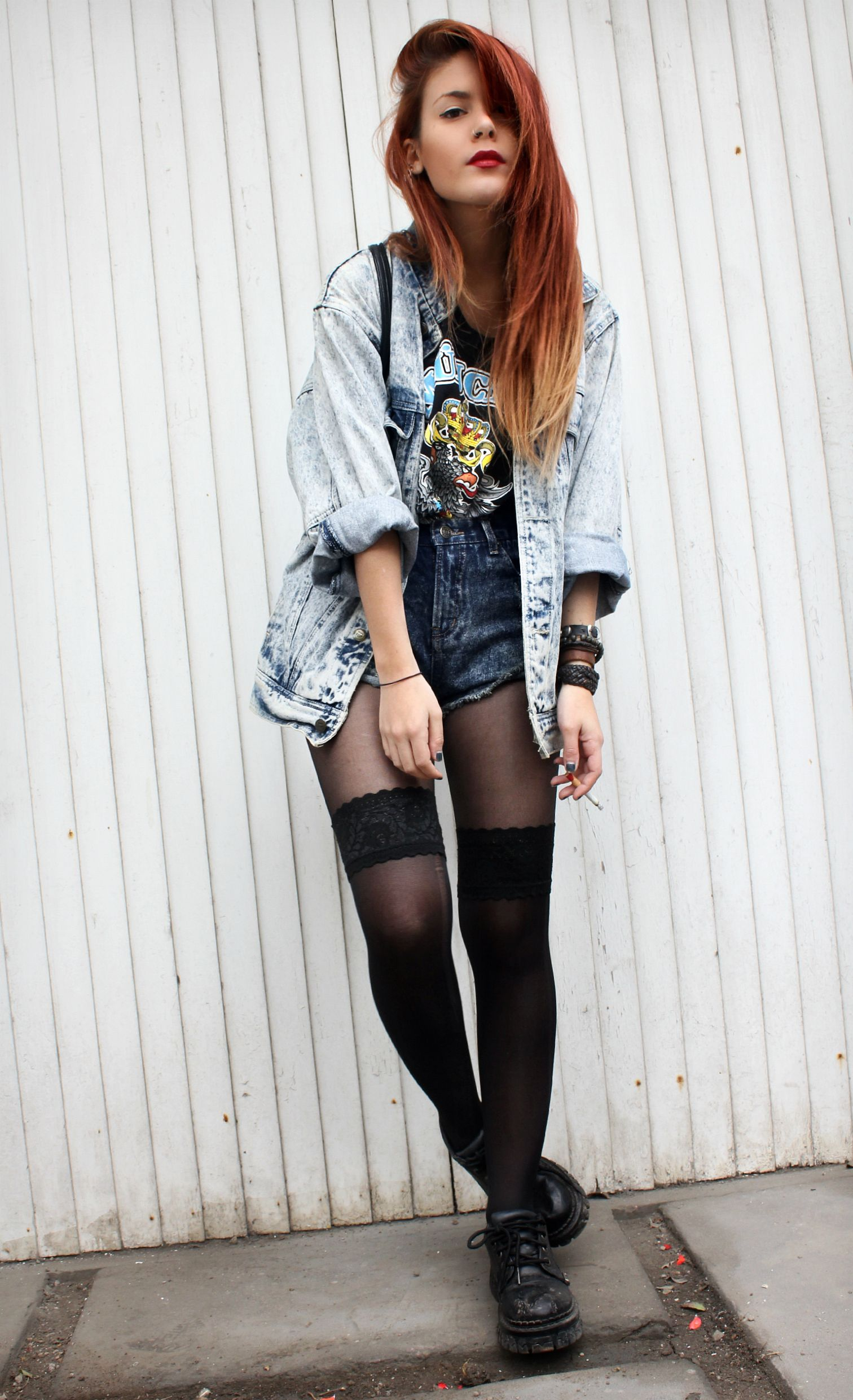 7361ab5c7a32 Vintage denim jacket with vintage rock band tee, denim shorts & vintage  shoes