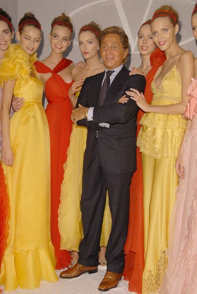2007. Valentino Spring Ready-to-Wear.  Valentino with models after the show.