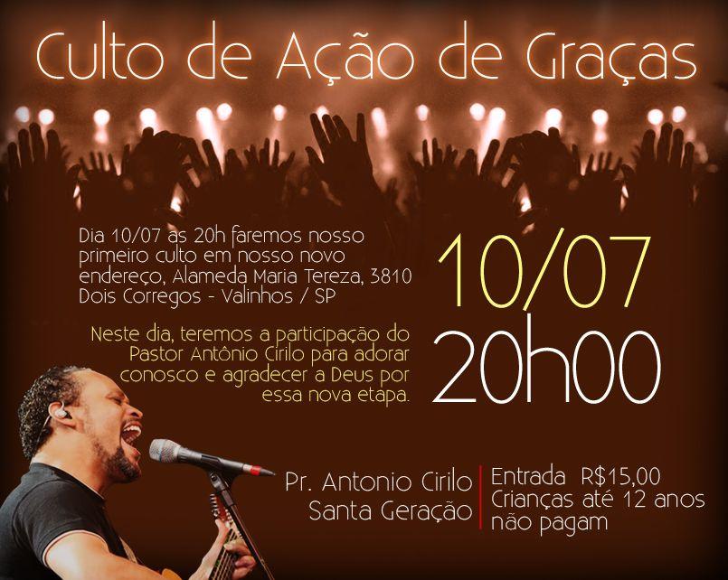 Culto de Ação de Graças - Pastor Antônio Cirilo - Banner