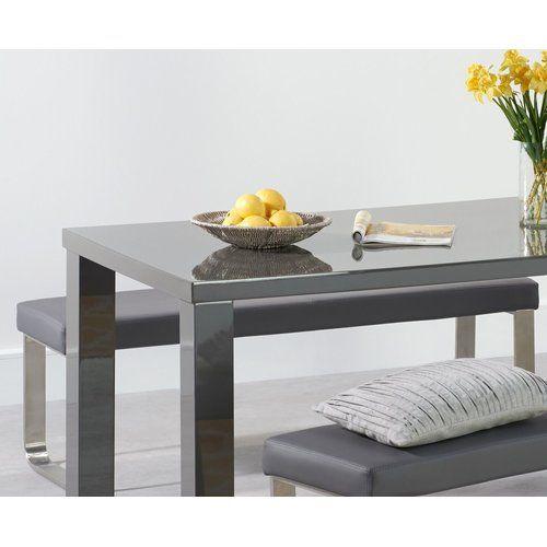 Essgruppe Petegem mit 4 Stühlen und 2 Bänken Metro Lane Farbe (Tisch): Dunkelgrau, Farbe (Stühle): Grau, Farbe (Bank): Weiß