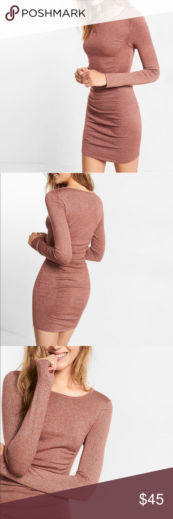 Express ruched sweater dress size S pink rose gold Rose gold sparkle dress sz S, bought in-store 5th ave NYC, worn only 3 times, mint condition perfect no flaws, worn in winter, ID Express Dresses Long Sleeve