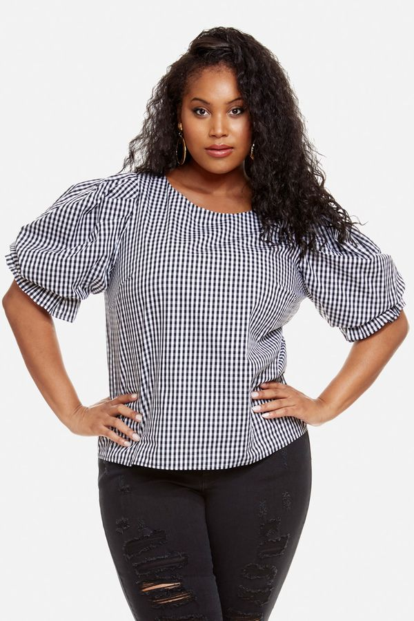 7b0b99e7afa6d9 Victoria Gingham Print Puff Sleeve Blouse Puff sleeves are a summer trend  moving into fall. This stunning plus size blouse features dramatic puff  sleeves