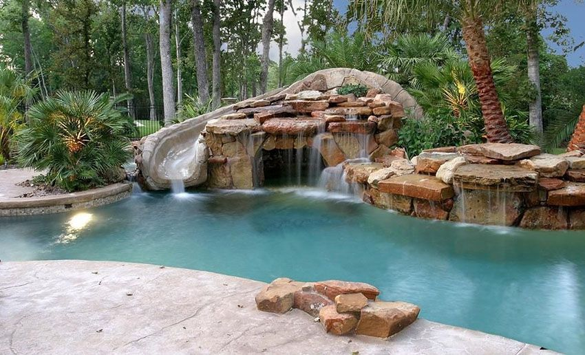 37 Swimming Pool Water Features (Waterfall Design Ideas) Water